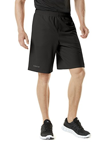 TM-MBS01-BLK_Large Tesla Men's Active Shorts Sports Performance HyperDri II With Pockets MBS01