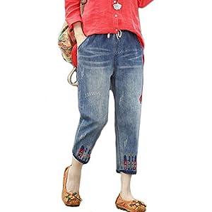 Women's Cropped Jeans  Loose Denim Jogger Pants