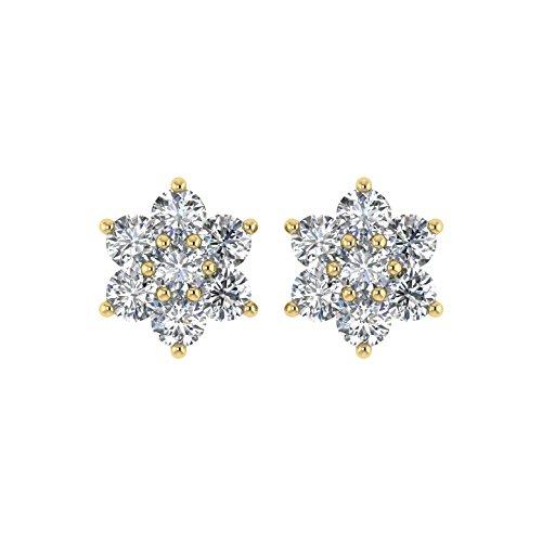 Delight femmes de diamant 14K Boucles d'oreille Clous en forme de fleur (i3, 11/4carat)