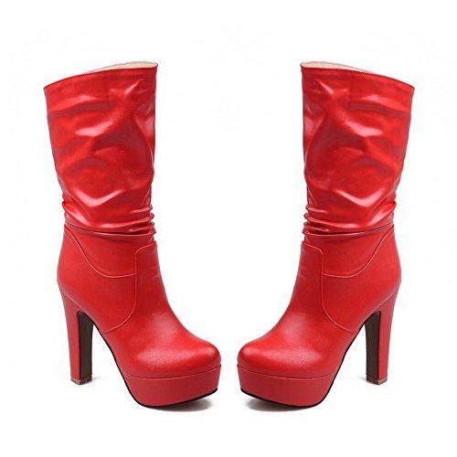 Allhqfashion Womens Tacco Chiuso Tacco Alto Materiale Morbido Mid-top Stivali Solidi Rosso