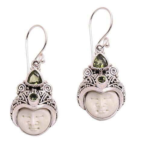 NOVICA Peridot .925 Sterling Silver Cow Bone Dangle Earrings, Celuk Pangeran'