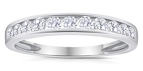 - 1/2ctw Diamond Channel Wedding Band in 10k White Gold 6.5