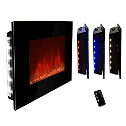 """AKDY® 36"""" LED Wall Mount Electric Fireplace Modern Space Heater Flat Tempered Glass w/Remote Control from AKDY"""