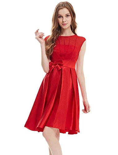 Ever Pretty Womens Cap Sleeve Illusion Neckline Wedding Guest Dress 6 US Vermillion
