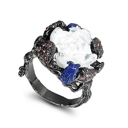 Goddess Garnet Ring - Monowi Women Vintage Natural Stone Cicada The Tree Vine Black Gold Ring Jewelry Gift | Model RNG - 19848 | 6