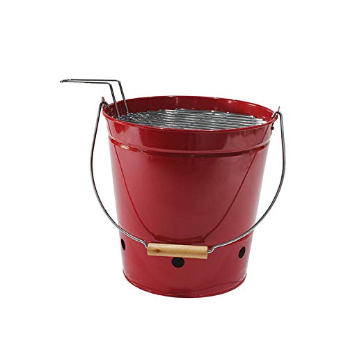4W Small Charcoal Grill Portable Barbecue Bucket Grill for Outdoor Cooking Camping Travel Picnics and More (Red)