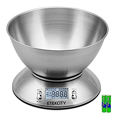 Etekcity Digital Kitchen Scale Multifunction Food Scale with Removable Bowl 2.15L Liquid Volume Room Temperature and Timer, 11lb 5kg, Backlight LCD Display