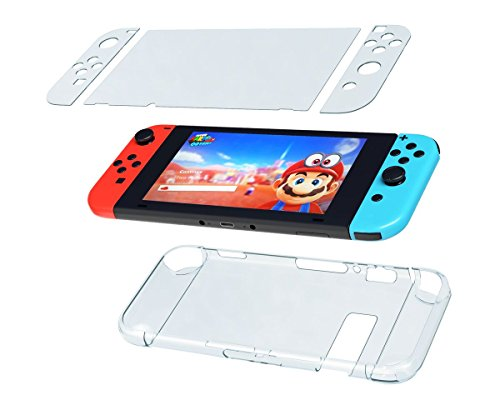 Nintendo Switch Case with Screen Protector, Crystal Clear Hard Case with Premium HD Tempered Glass Screen Protector, Switch Full Body Protection Kit by Gaim Out