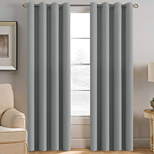 (H.VERSAILTEX Grey Blackout Curtains for Bedroom Thermal Insulated Room Darkening Blackout Curtain Panel for Door, Window Panel Drapes - 1 Panel - 52 inch Wide by 84 inch Long, Dove Gray, Grommet Top)
