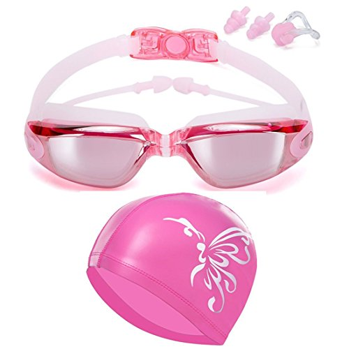 (Qlten Swim Goggles and Cap Set, Swimming Goggles No Leaking Anti Fog UV with Free Protection Case + Nose Clip + Ear Plugs for Adult Men Women Youth Kids Child Girls (Pink))
