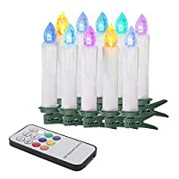 Xinind Taper Candle with 12 Keys Remote Control 10Pcs 7 Colors Flameless Flickering Light Candle Battery-Powered LED Bulb Candle Home Christmas Decor Clip Candle