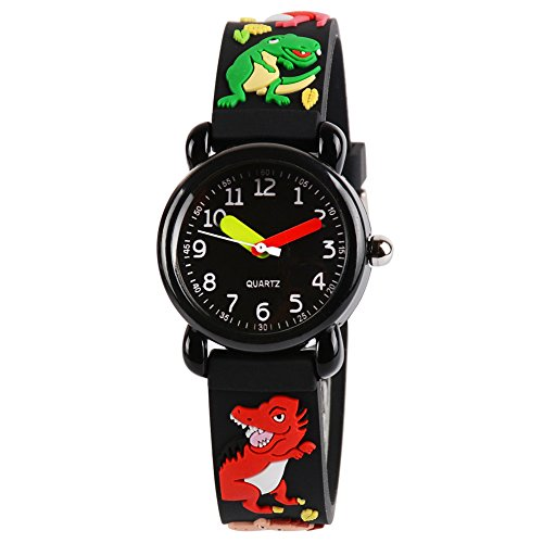 - Venhoo Kids Watches Cartoon Waterproof Silicone Children Wristwatches Time Teacher Gifts for Boys (Black Dragon)
