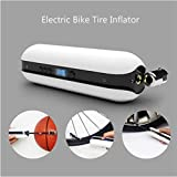 Flurries  150PSI Electric Bike Tire Inflator - Smart Air Pressure Pump - Mini Air Compressor - Sports Inflation Device for Car Cicycle Basketball Balloon - USB Rechargeable LCD Display (White)