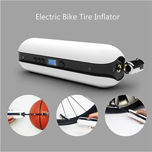 Flurries  150PSI Electric Bike Tire Inflator - Smart Air Pressure Pump - Mini Air Compressor - Sports Inflation Device for Car Cicycle Basketball Balloon - USB Rechargeable LCD Display (White) (Pocket Bike Gauges)
