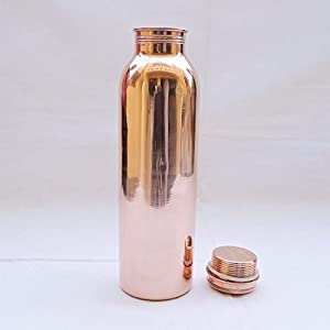 Rastogi Handicrafts Copper water bottle joint free leak proof 900 ml Pure Copper - Solid Copper Indian Traditional Copper Utensil