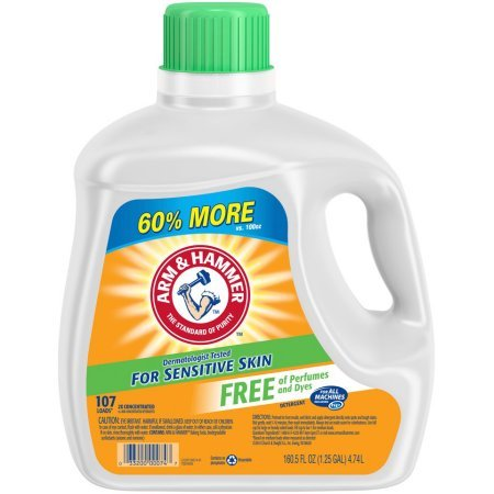 Arm & Hammer Liquid Laundry Detergent for Sensitive Skin, 107 loads, 160.5 fl oz (1)