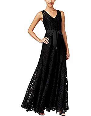 Calvin Klein Womens Lace Pleated Evening Dress