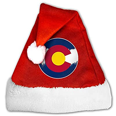 Alfred Weekjey Rocky Mountain Colorado Vintage Santa Hat Christmas Hats with Plush Trim for Adults and Children