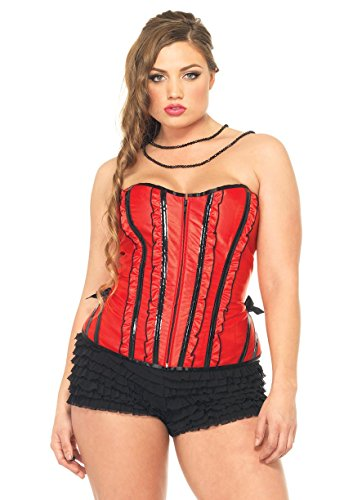 [Leg Avenue Women's Plus-Size Betty Corset, Red, 1X-2X] (Plus Size Betty Corset)