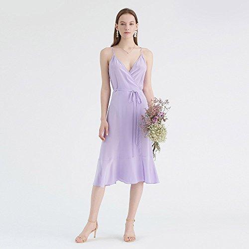 Lila Damen Seidenkleid Wickel Midi Lang aus Trägerkleider Seide LilySilk Bezaubernd Partykleider xgBnOwqA