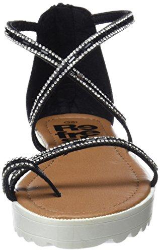 Noir Femme 64202 black Sandales Bout Refresh Ouvert wqXT87H