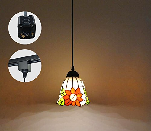 KIVEN Tiffany Style Pendant H-type Track Hanging Lamp 5.9 inch Shade Diameter 3.3 feet Cord Length