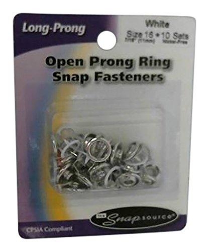 Snap Source 161-01 Open Long-Prong Snaps Size 16 10/Pkg-White