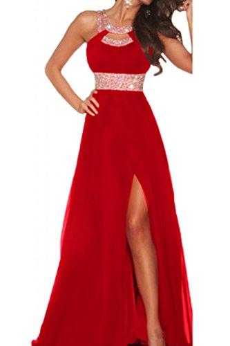 Langes rotes kleid mit schlitz