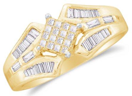 Sonia Jewels Size 6-14k Yellow Gold Ladies Womens Princess Cut Baguette Diamond Wedding Ring (1/2 cttw.)
