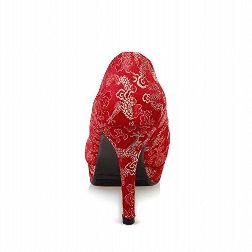 Latasa Dames Retro Bloemen Punt Hoge Hakken Rode Stoffen Jurk Pumps Rood