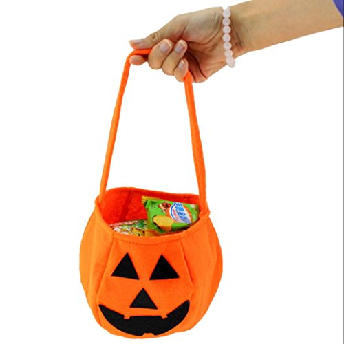 Start Halloween Orange Smile Pumpkin Bag Kids Children Candy Bag