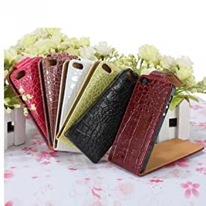 Vertical Crocodile PU Leather Up And Down Flip Case Cover For iPhone 5 --- Color:Coffee