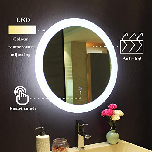 MIRPLUS Bathroom Vanity Mirror, Wall Mounted LED Backlit 24 Inch, Circular Lighted - Light Frameless Mirrors Above Bathroom