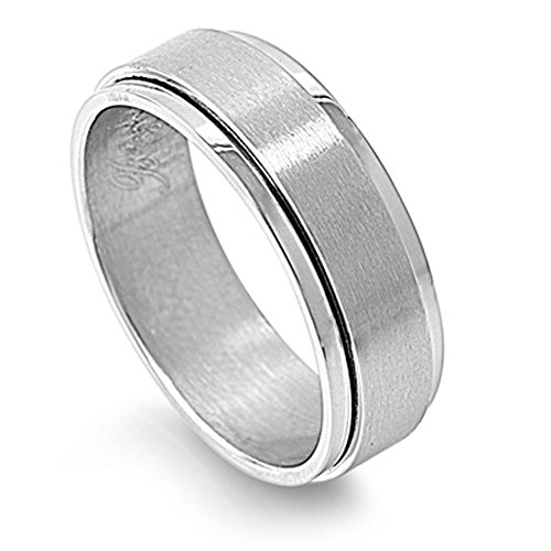 Men's Spinner Ring Classic Brushed Stainless Steel Band New USA 7mm Size 12