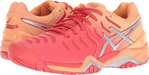 ASICS Womens Gel-Resolution 7 Tennis Shoe, Red Alert/Silver, Size 10