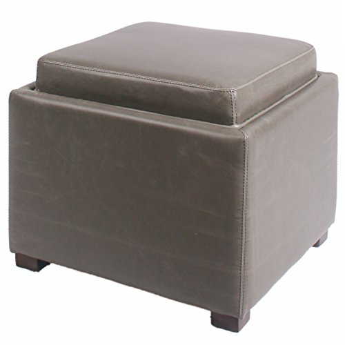 New Pacific Direct 113042B-V04 Cameron Square Bonded Leather Storage Ottoman Furniture, Vintage Gray