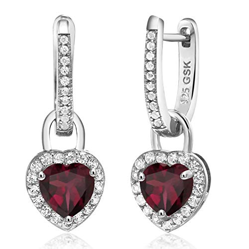 Gem Stone King 925 Sterling Silver Red Rhodolite Garnet and White Created Sapphire Heart Shape Leverback Earrings For Women (1.94 Ct)