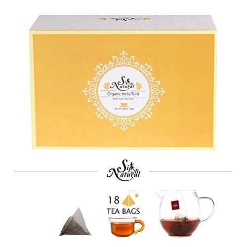 Organic India Tulsi Tea(Rama Tulsi + Vana Tulsi) by Sip at Natural, Holy Basil Tulsi Chai, Organic India Herbal Tea, 18 Pyramid Teabags Scripture Tea Green Tea