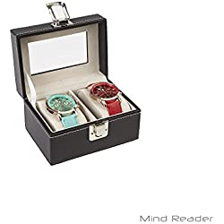 Mind Reader Watch Box Organizer Case, Fits 2 Watches, Mens Jewelry Display Storage, PU Leather, Black
