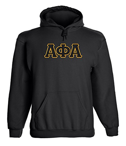 (Fashion Greek Alpha Phi Alpha Twill Letter Hoody Black Small)