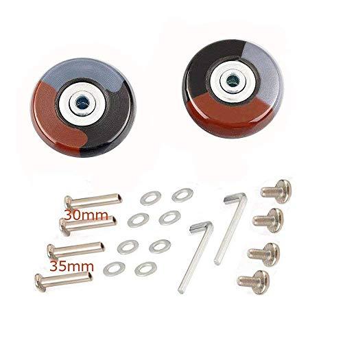 (KINPAR 50MM Luggage Replacement Wheels,Luggage Suitcase Replacement Wheels Kit,Axles 30MM,35MM,Deluxe Repair (Grey Black Brown))