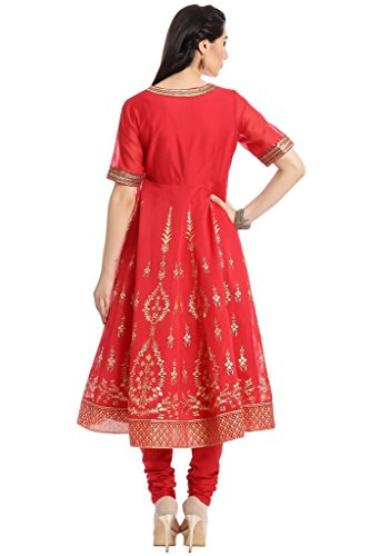 BIBA Women's Anarkali Cotton Silk Suit Set 34 Red by Biba (Image #3)