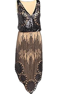BABEYOND Women's V Neck 1920s Embellished Gatsby Sequin Flapper Dress