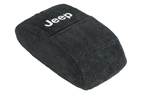 Fits All Jeep Grand Cherokee 2015-2018 Officially Licensed Jeep Embroidered Auto Armrest Covers For Center Console Lid (Center Console Cover) Will Protect New or Restore Worn Out Consoles-Black