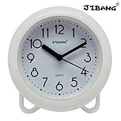 JIBANG Waterproof Bathroom Clock, Desktop Clocks for Bathroom, 7 Inches Silent Non-Ticking Prevent Mist Wall Clock, 7 Colors are Optional, White