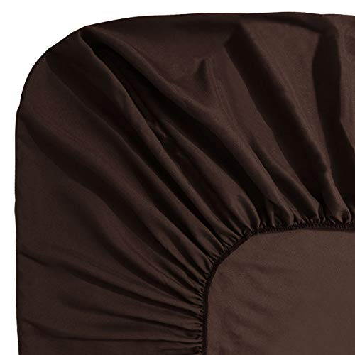 Guken Bedding Fitted Sheet Deep Pocket Sanded Microfiber Fabric Fitted Sheet with Elastic All Around Bed,Breathable, Extra Soft and Comfortable - Winkle, Fade, Stain - Sheet Chocolate Fitted