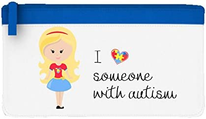 Lápiz plano de pelo rubio con texto en inglés I Love Someone With Autism Awareness Character G3 Girl, color azul talla única: Amazon.es: Oficina y papelería