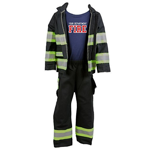 Halloween Costumes Girl On Fire (Personalized Firefighter Toddler Full BLACK Outfit 3-Piece Set (4T))