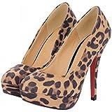 Latasa Women's Sexy Leopard Print Platform High Heel Dress Pumps Shoes