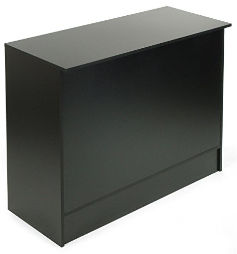 Cash Register Stand with 3 Height-Adjustable Shelves, Ships Unassembled to Minimize Costs - Black Melamine Cash Wrap